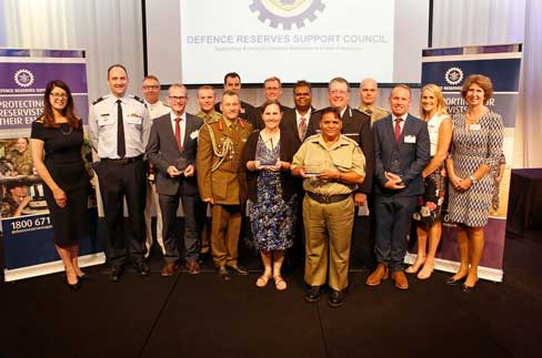 Award recipients and their Reserve staff along with Defence Reserves Support Council staff, display their awards at the 2018 Defence Reserves Support Council Queensland State Employer Awards.